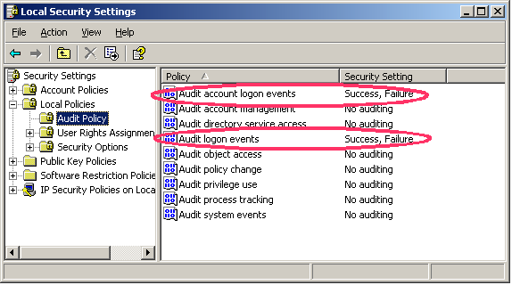 Nachsehen-Windows: Audit Policy
